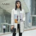 LYNETTE'S CHINOISERIE 2016 novo inverno chegada reta zipper abstrato impressão de bolso de veludo 90 para baixo casaco mulheres