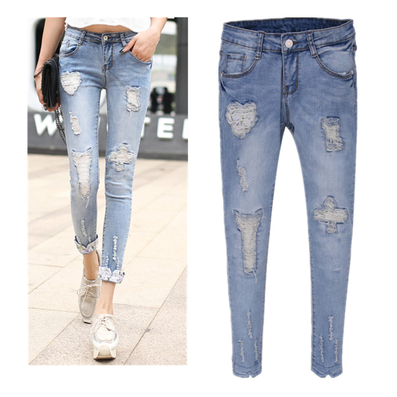 6a482ea56b0 Ripped Jeans For Women 2015 Summer Hot Sale Peto Vaquero Mujer New Patch  Hole Distressed Denim Slim Skinny Jeans Pants Woman -in Pants   Capris from  Women s ...