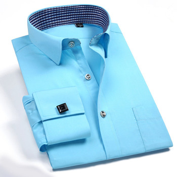 French cuff shirts married high-grade Men's casual shirts long sleeved business shirt Cufflinks French occupation Men's blouse недорого