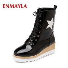 purple hairy lace up square toe women ankle high boots leopard print platform stivali femminili star casual wedges boots femmes ENMAYLA 2018 Hot selling  women fashion square toe wedges lace-up boots lady star ankle boots ZYL540