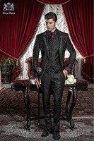 Классический итальянский стиль Черный Мужские свадебные костюмы Вышивка Жених выпускного вечера смокинг ретро для официального торжества