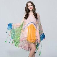 Brand Runway High Quality Bohemian Loose Cape Beach Dress Ladies Maxi Chiffon Tassels Dresses Vestidos Drop