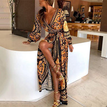 Women Luxury Print Long Party Dress Long Sleeve Deep V-Neck Golden Floral Maxi Dress Casual Bohemian Loose Long Dress Vestidos(China)