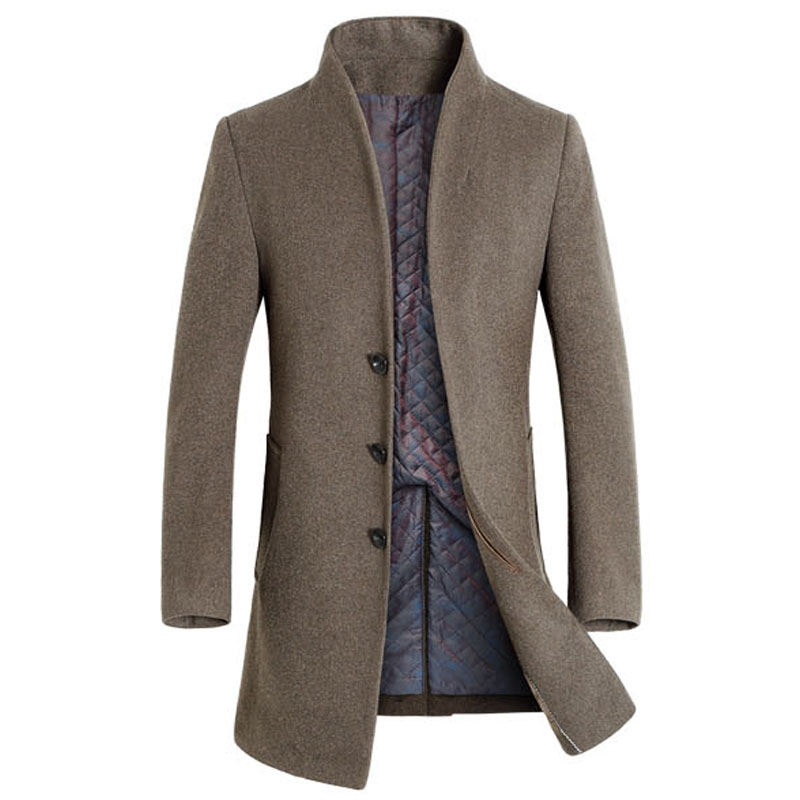 Miacawor новый зимний теплый шерстяной и смешанный мужской длинный плащ, Мужское пальто, брендовая одежда, куртка, мужское кашемировое пальто MJ379 - 5