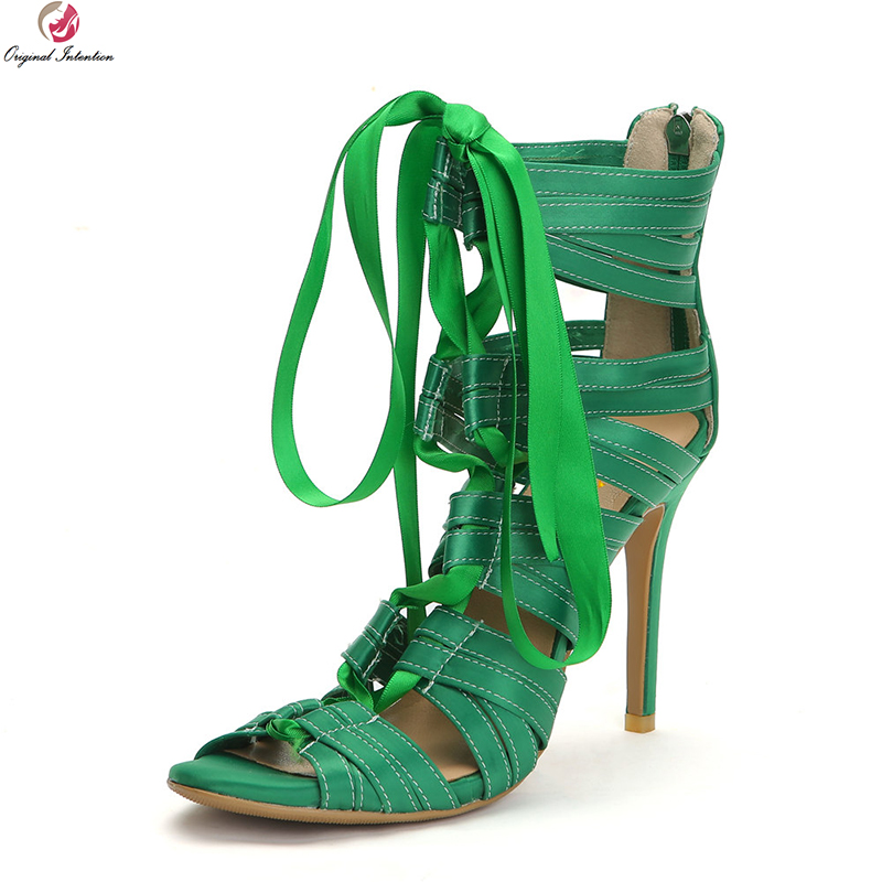 4 Ef1468 Ee Elegante Alto Verde Green Mujer uu Intención Tacón De Sandalias Zapatos Hermosas 15 Original Mujeres Abierta Tamaño Nuevas Más Punta vRZCFUwqF