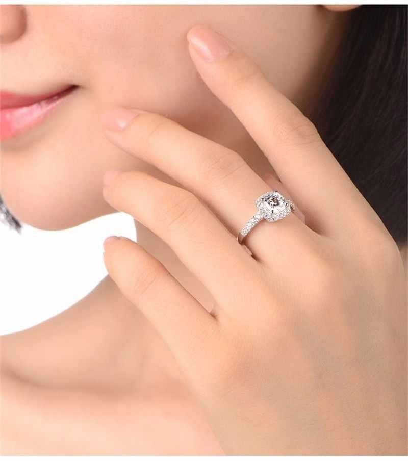 Real 100% anillos de plata de ley 925 al por mayor incrustaciones de 3 quilates SONA simulación CZ anillos de boda para mujeres talla 5- 10