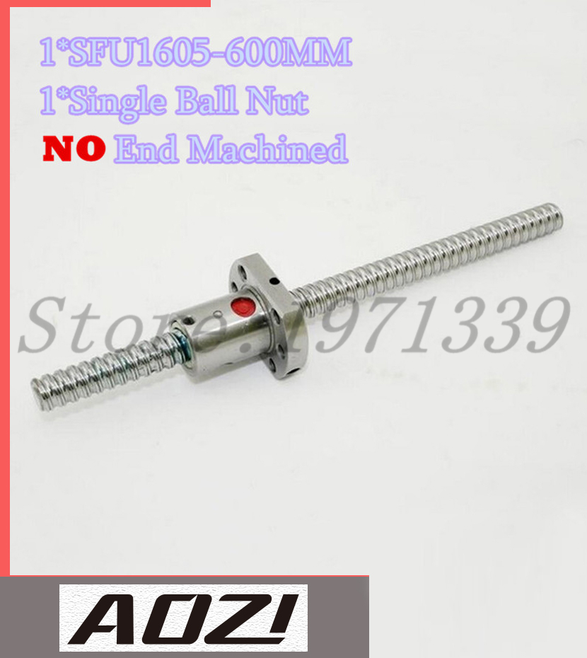 SFU1605 RM1605 1605 L 600mm Ball Screw Ballscrew with Single Ballnut for CNC
