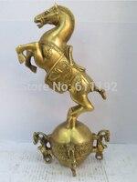 Moderne Startseite FengShui Decor hand geschnitzte Messing Pferd skulptur  Antiquitäten metall handwerk-in Statuen & Skulpturen aus Heim und Garten bei