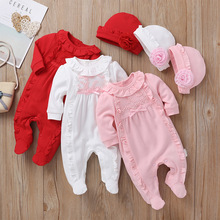 Newborn Autumn Winter Baby Girl Clothing   Lace Jumpsuit Footies Overall with Cap White Pink Sleeping Bag Infant Baby Clothes keying baby sleeping bags velvet with cap 2017 autumn