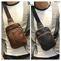 Hot Sale New PU Leather Men Bag Chest Bag Casual Messenger Bags