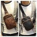 Hot Nueva Manera Del Diseño Retro de Los Hombres Paquete Pecho Hombre Bandolera Mini bolso Bolsas de Viaje Masculino Pequeña Bolsa Ocasional Pecho Negro y marrón