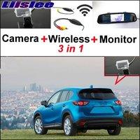 Liislee 3 in1 Speciale Achteruitrijcamera + Draadloze Ontvanger + spiegel Monitor GEMAKKELIJK Parkeersysteem Voor Mazda 5 CX CX5