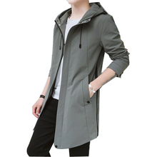 Hooded Men Trench Coat Big Pocket Men Trench Coat Spring Cas