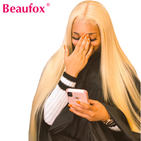 Beaufox 613 Lace Front Human Hair Wigs 613 Blonde Wigs Brazilian Straight Front Lace Wig Pre Plucked With Baby Hair 150% Remy