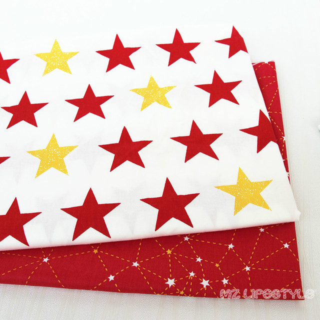 Aliexpress Com Buy Buulqo 50x160cm Printed Red Star Cotton Twill