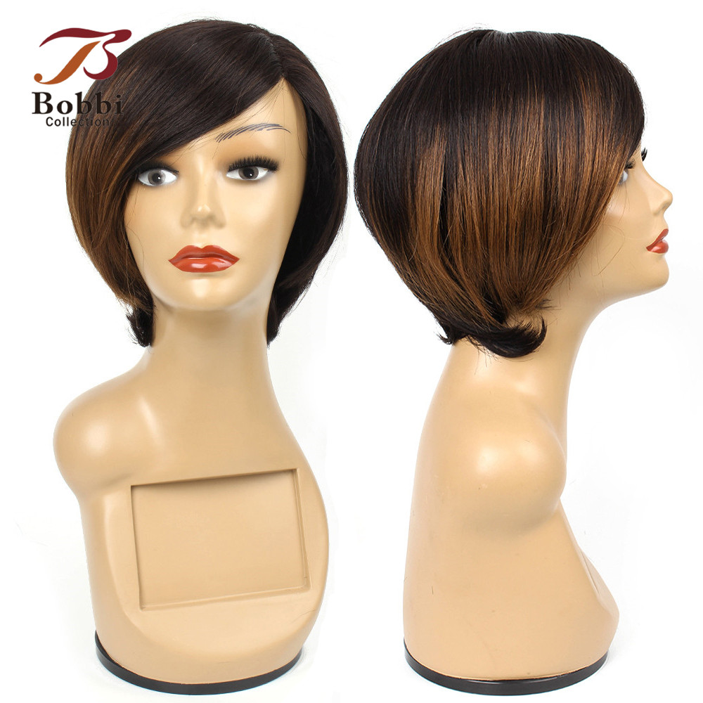 BOBBI COLLECTION Ombre Human Hair Wigs Brown Blonde Burgundy Side Part Long Lace Short Style Straight Brazilian Remy Human Hair