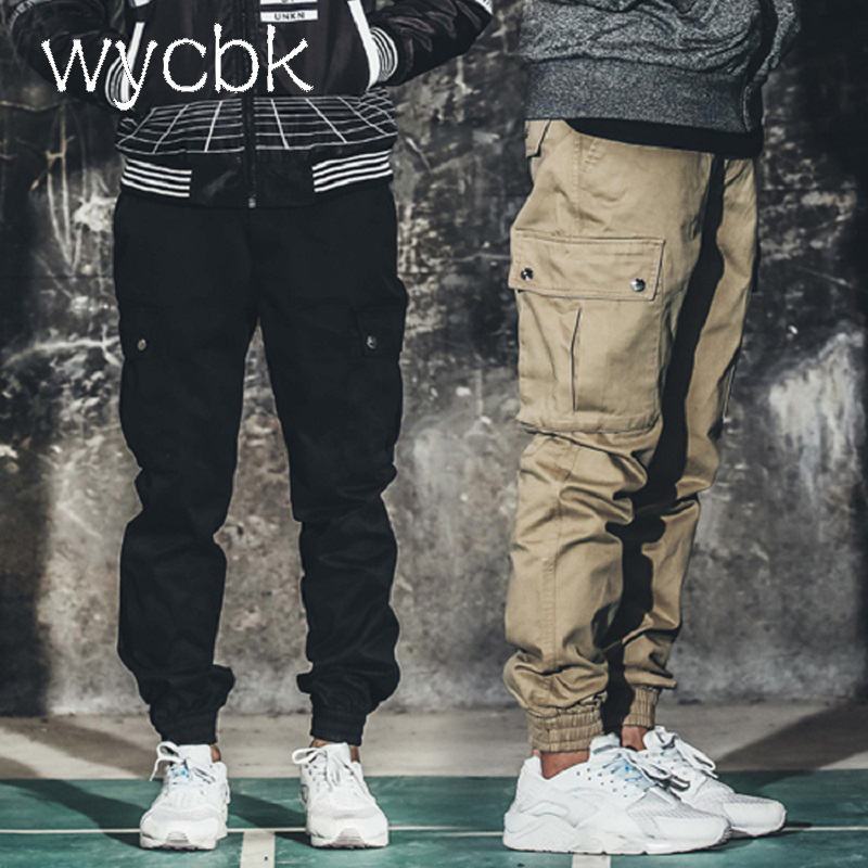 wycbk 2017 Summer Autumn Casual Men Classic Cargo Pants 100% Cotton Solid Pocket Long Male Trousers 3 Colors Style Size 29-38