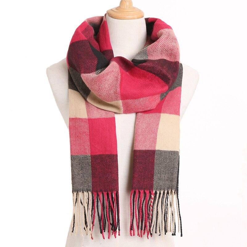 [VIANOSI] клетчатый зимний шарф женский тёплый платок одноцветные шарфы модные шарфы на каждый день кашемировые шарфы - Цвет: 06