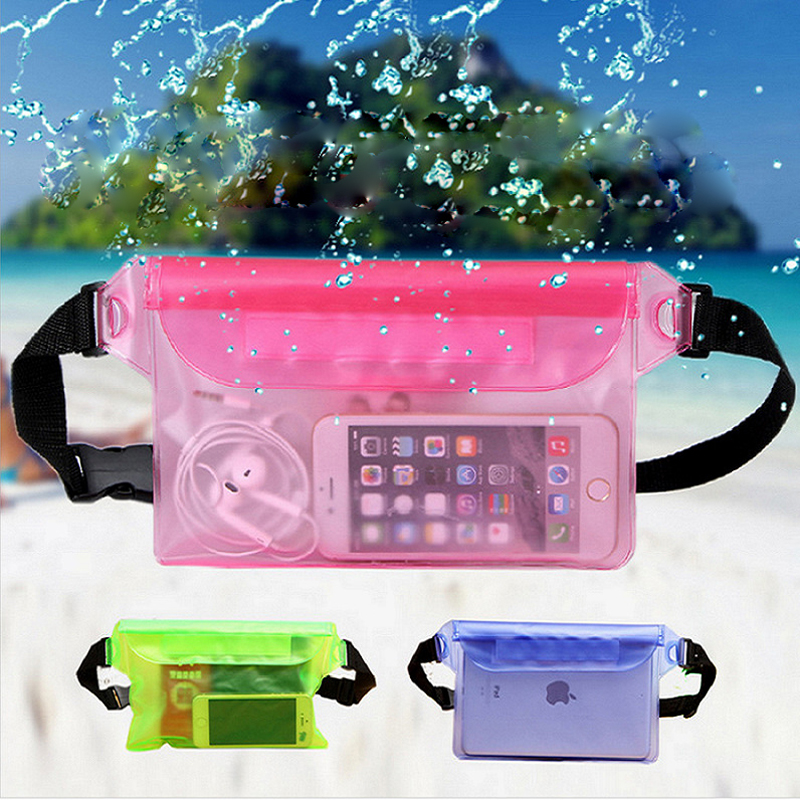Runseeda Waterproof Swimming Bag Clear Waist Belt Transparent PVC Diving Swimming Dry Bag Waterproof Pocket Pouch For Iphone Pad