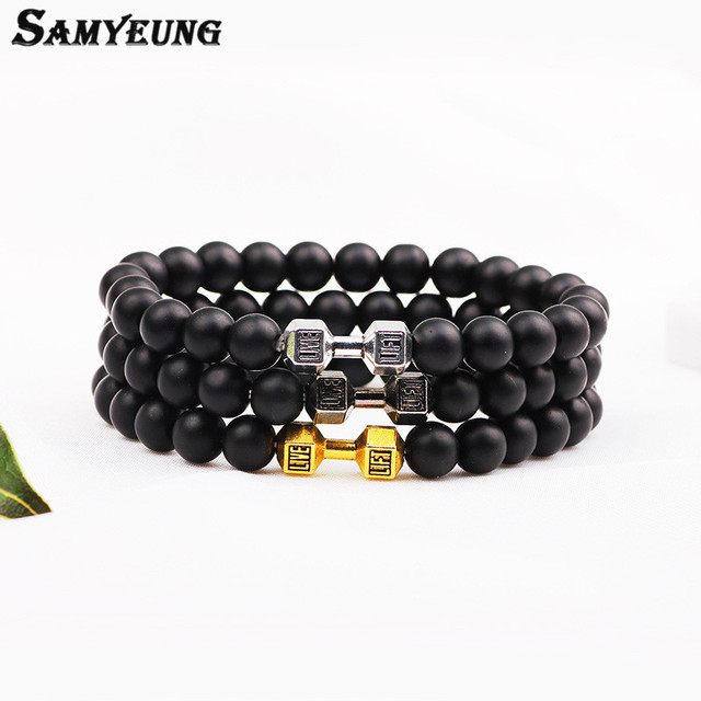 Samyeung NEW! Natural Stone 6mm Gold Dumbbell Bracelets for Men Beads Bangels Bracelet Homme Braclet Woman Braslet Bijoux Femme