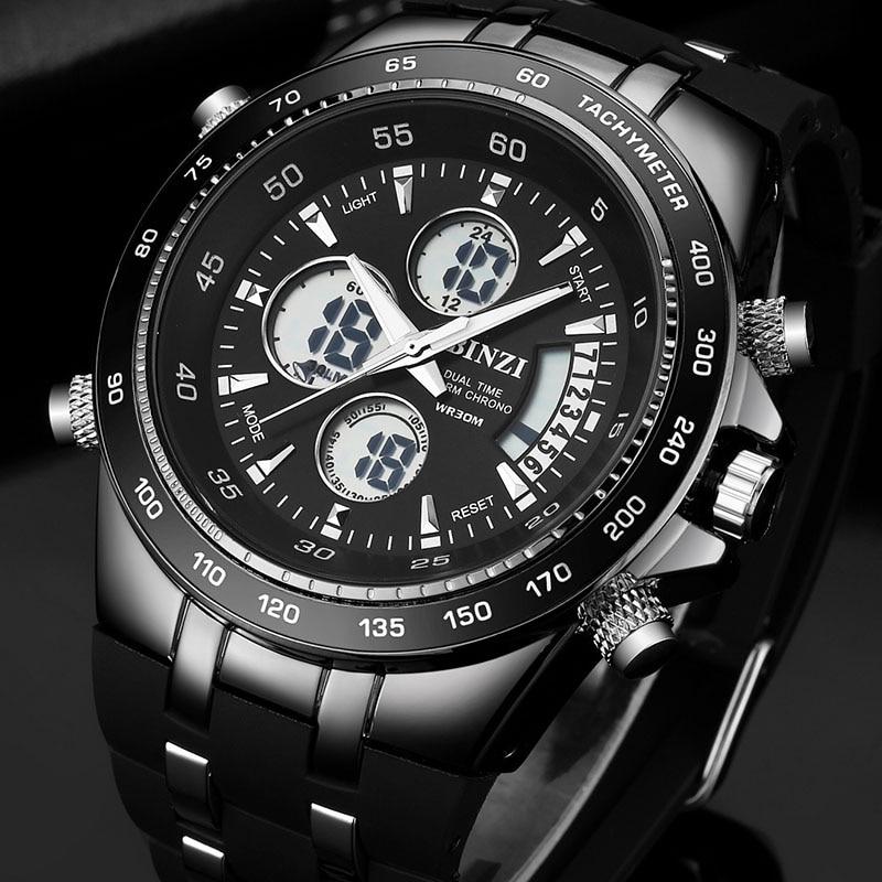 BINZI Sport Watch Men Military Mens Watches Clock Timekeeper 2018 Waterproof Quartz Digital Male Brand relogio masculino xfcs