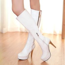2014 New Winter women fashion high leg Boots thick high heel knee high boots Platform round toe Sexy female shoes tall boots