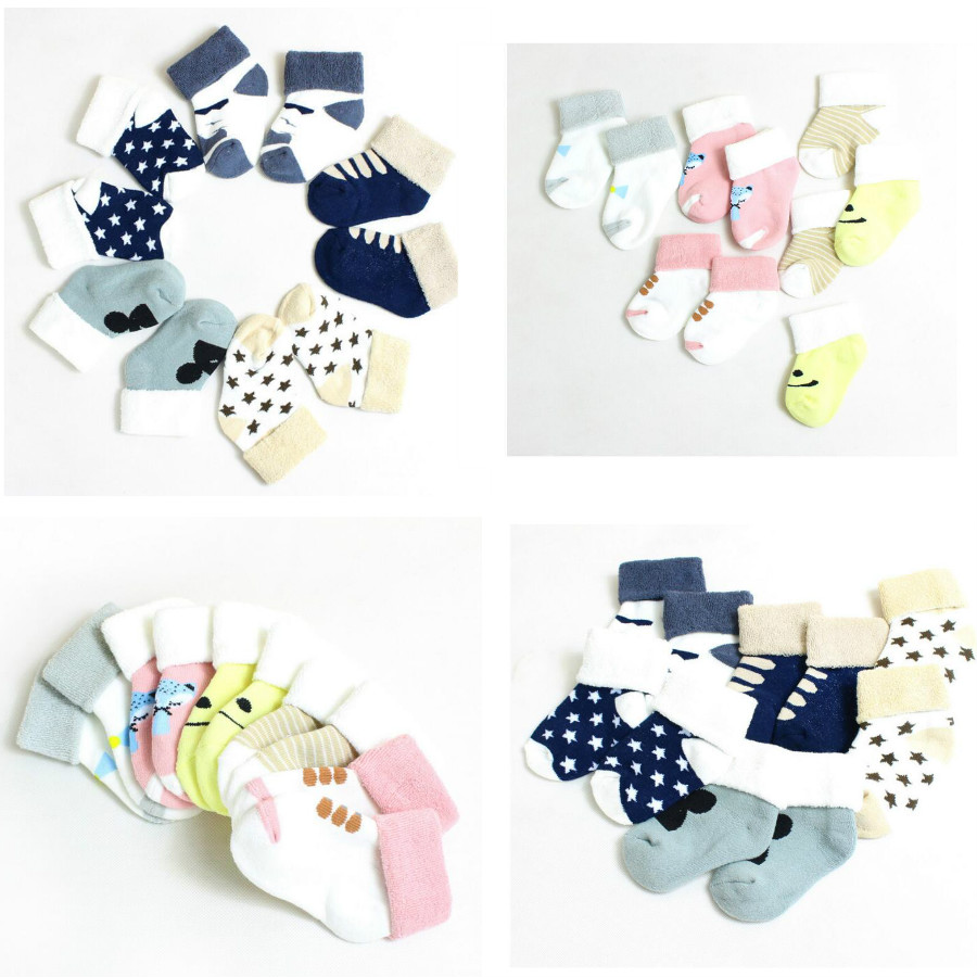 1 Pair Or 5/lot Kawaii Pattern Cotton Kids Socks Baby Breathable Boys Girls Socks For Ch ...