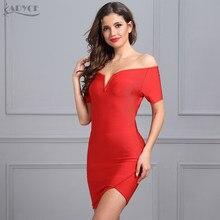 f823457dd Adyce 2018 جديد المرأة الصيف ضمادة اللباس الأسود الأحمر حمالة قصيرة الأكمام  Vestidos جانب واحد سبليت الأنيق مساء حزب فساتين