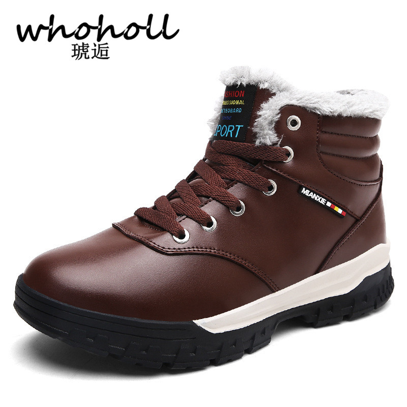 Whoholl 2017 Hot Men Shoes Fashion Warm Fur Winter Men Boots Autumn Leather Footwear for Man New High Top PU Casual Shoes Men new 2016 medium b m massage top fashion brand man footwear men s shoes for men daily casual spring man s free shipping