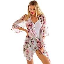 BB&KK OXUAN Summer Style Women Floral Kimono Cardigan Half Sleeve Chiffon Loose