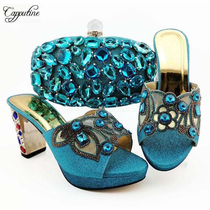 Popular sky blue party pumps with purse , nice shoes and evening bag set with luxury crystal stones QSL007 heel height 9cm
