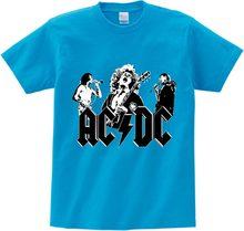 4c50c7fc5f00 Прохладный Большой мальчик и девочка принт группа AC/DC рок футболка с  круглым вырезом короткие