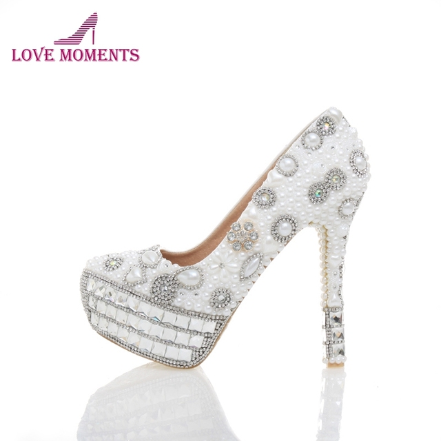 7ce1da35a154 White Pearl Crystal Wedding Shoes Bridal High Heels Sexy Banquet Party Prom  Shoes Rhinestone Platform Special Event Pumps
