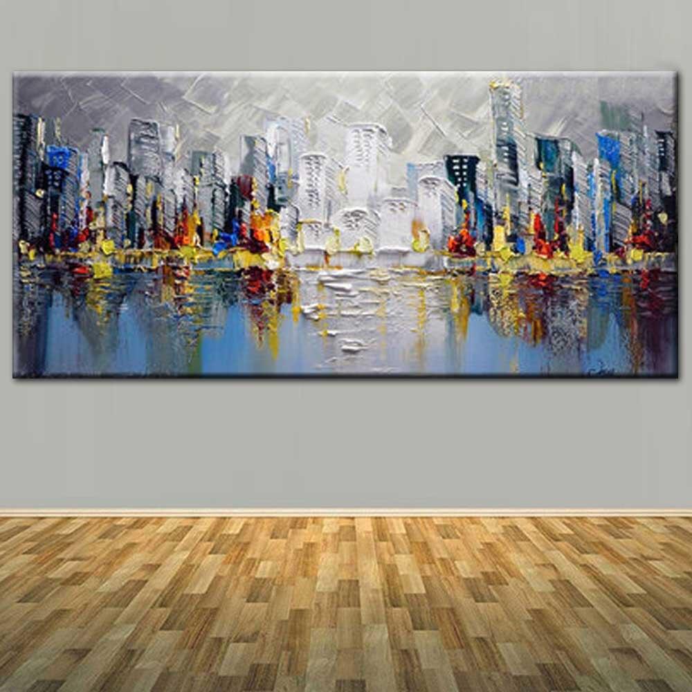 Ручная роспись Современные Аннотация Толстая Impasto холст здания масла Картины Абстрактный пейзаж стены картину Гостиная Home Decor