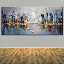 Hand Painted Modern Abstract Oil Painting On Thick Canvas of Cityscape Wall Picture