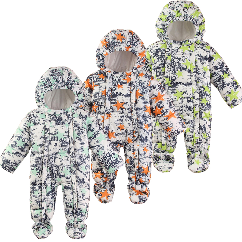 Baby Snowsuit Winter Newborn Baby Rompers Warm Jumpsuit Baby Snow Wear Cotton Thick Romper Kids Outerwear Clothes Infant Costume baby boy super mario cartoon print rompers winter thick infant character costume girls warm clothes baby bebe jumpsuit outerwear