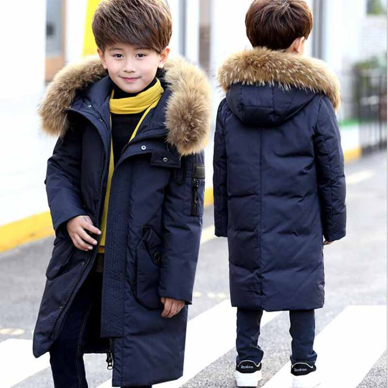 Boys  Real Raccoon Fur Collar Quilted Waterproof Duck Down Jacket Outwear 2017 New Children Kids Winter Warm Coat new winter girls boys hooded cotton jacket kids thick warm coat rex rabbit hair super large raccoon fur collar jacket 17n1120