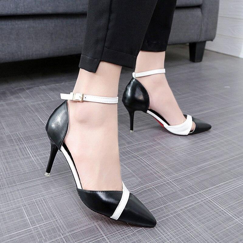 Zapatos Bombas Bien Puntiagudo Mujer Alto Tacón 2019 Mujeres Pie La Beige Moda Fiesta Del Mezclados De Las Dedo negro Colores Sandalias 6xqzp