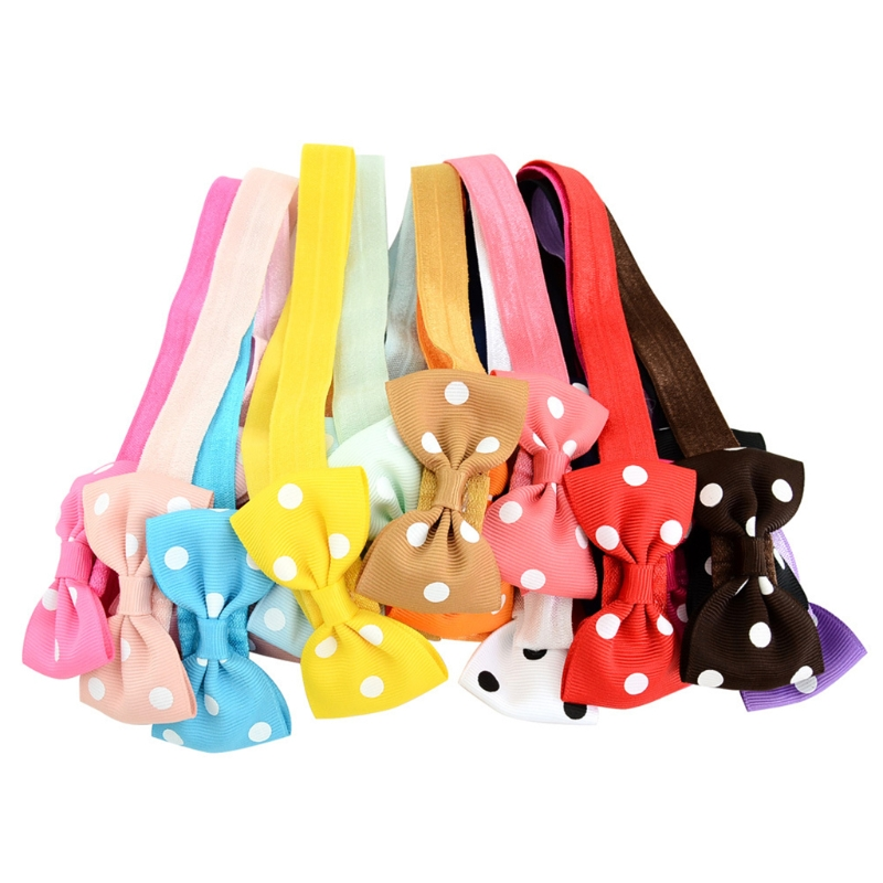 20Pcs Kids Girl Baby Toddler Bow Polka Dot Headband Hair Band Headwear Head Wrap
