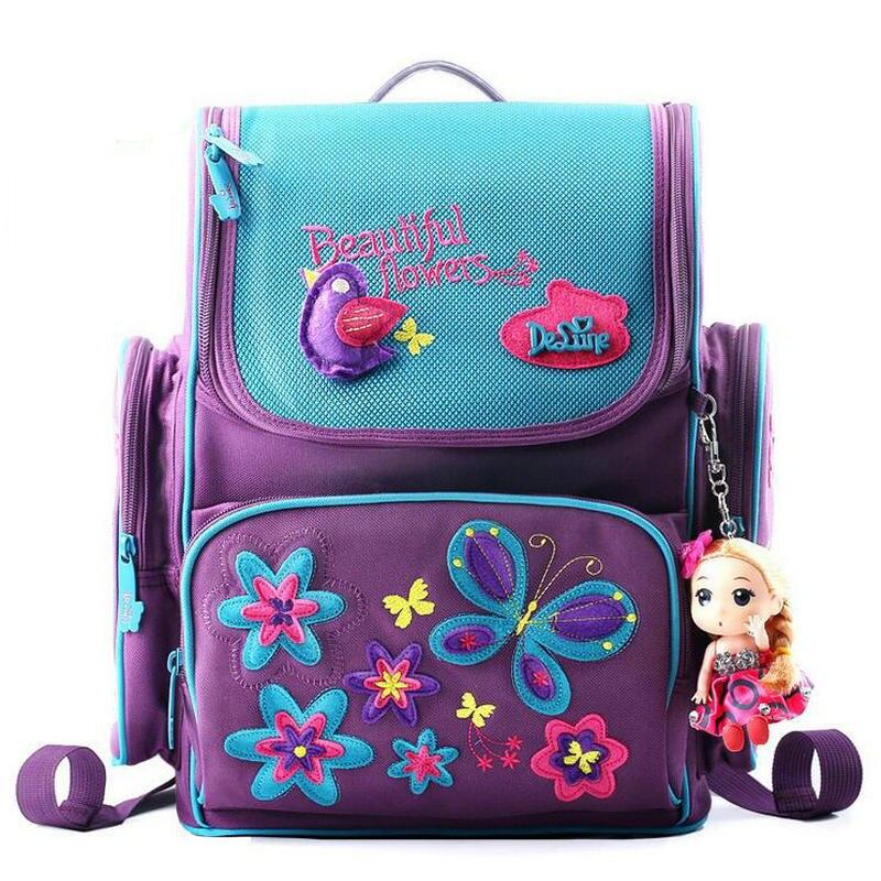 Russian Delune School Backpack Children Bag 1-3 Grade Kids Butterfly School Bags for Girls Cartoon Bear Waterproof Backpack unme children schoolbag for grade 1 3 girls backpack waterproof leather light for boy