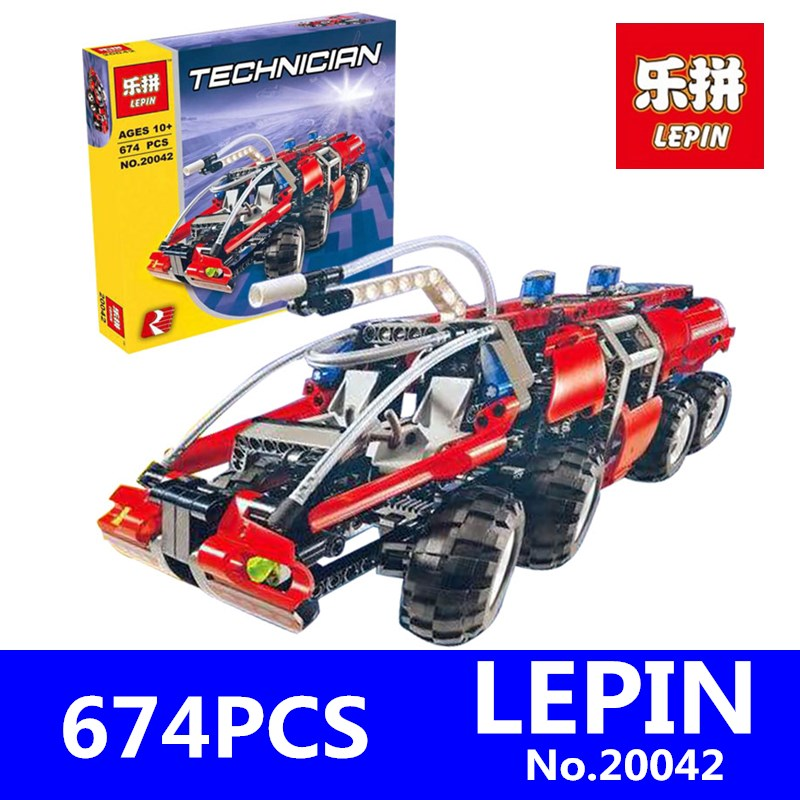 Genuine Changing Technic Series LEPIN 20042 674Pcs The Airport Fire Truck Set Educational Building Blocks Bricks Model Toys Gift lepin 02043 718 stucke city series airport terminal modell bausteine set ziegel spielzeug fur kinder geschenk junge spielzeug