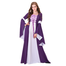 Medieval Costume Adult Medieval Renaissance Gothic Victorian Dress Gown Purple White Linen Medieval Cosplay Costume
