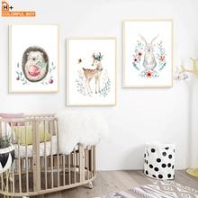 Deer Rabbit Hedgehog Fox Bear Nursery Wall Art Canvas Painting Nordic Posters And Prints Pictures Girl Boy Kids Room Decor