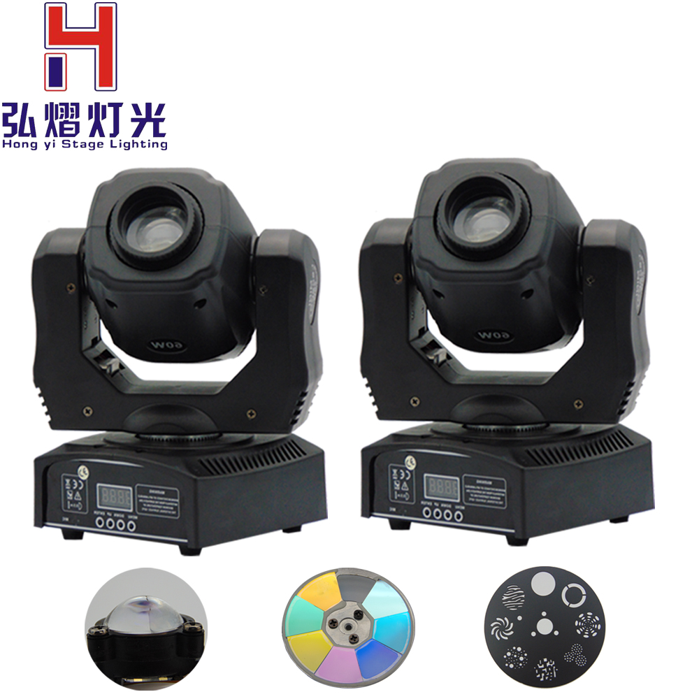 (2 pieces/lot) 60W mini led spot moving head light DMX dj 8 gobos effect light led mini moving head light 60w gobo dmx spot effect dj light fixtures