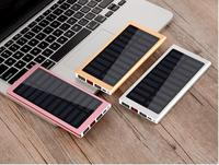 2018 Solar 20000mah Power Bank External Battery 2 USB LED Powerbank Portable Mobile phone Charger for Xiaomi iphone X 8plus