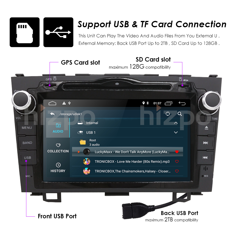 HD Quad Core A7 4 * 1.2GHz 1024X600 Android 8.1 Car DVD - Автомобиль электроникасы - фото 4