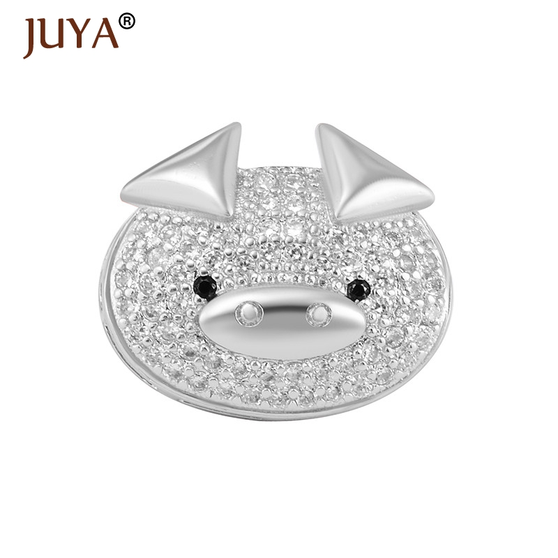 Jewelry Making Supplies Newest Cute Animal Pig Rhinestone Spacer Beads For DIY Jewelry Making Hand Made Jewellery Accessories