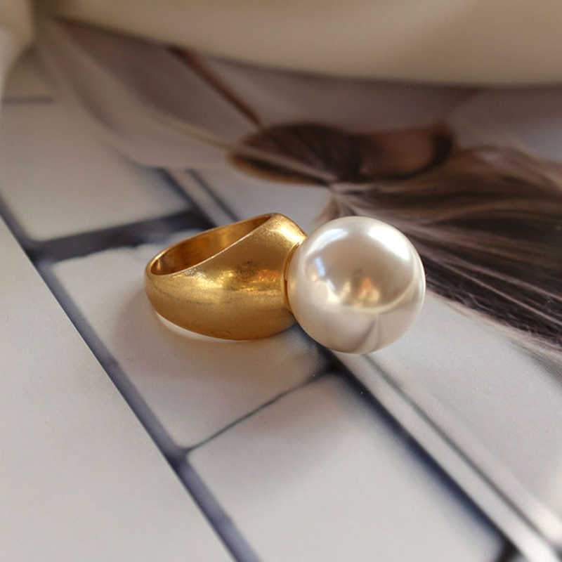 SRCOI Baroque Round Imitation Pearl Vintage Ring Gold Color Minimalist Geometric Personality Exaggerated Finger Ring Trendy  New