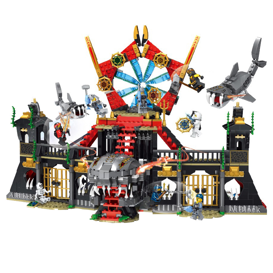 Building Blocks 06039 1351pcs Compatible With Lego Ninjago 70596 Samurai X Cave Chaos Ninja Fighting Shark Palace Model Kits 1171 Pcs Bricks 7 Figures Legoing Ninjagoes Movies