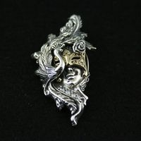 Gv 925 saf gümüş kolye kesme oyma uygunsuz yüz gümüş topu bakır karışımı maç gotik vintage kolye